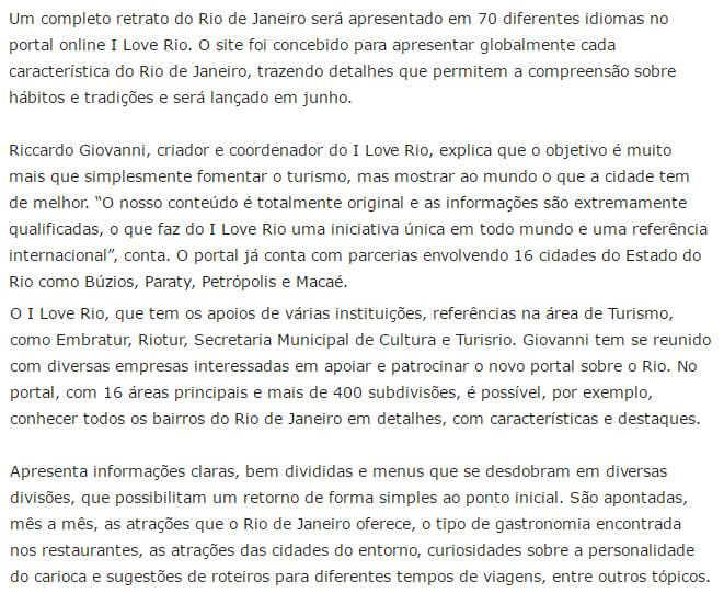 Projeto apresenta Rio de Janeiro em 70 idiomas em portal